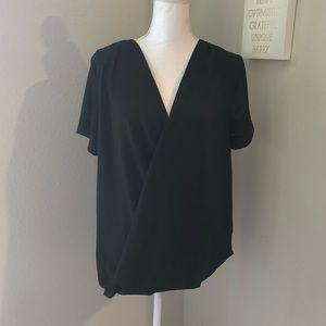 Paper Crane Black Wrap Sophisticated Blouse